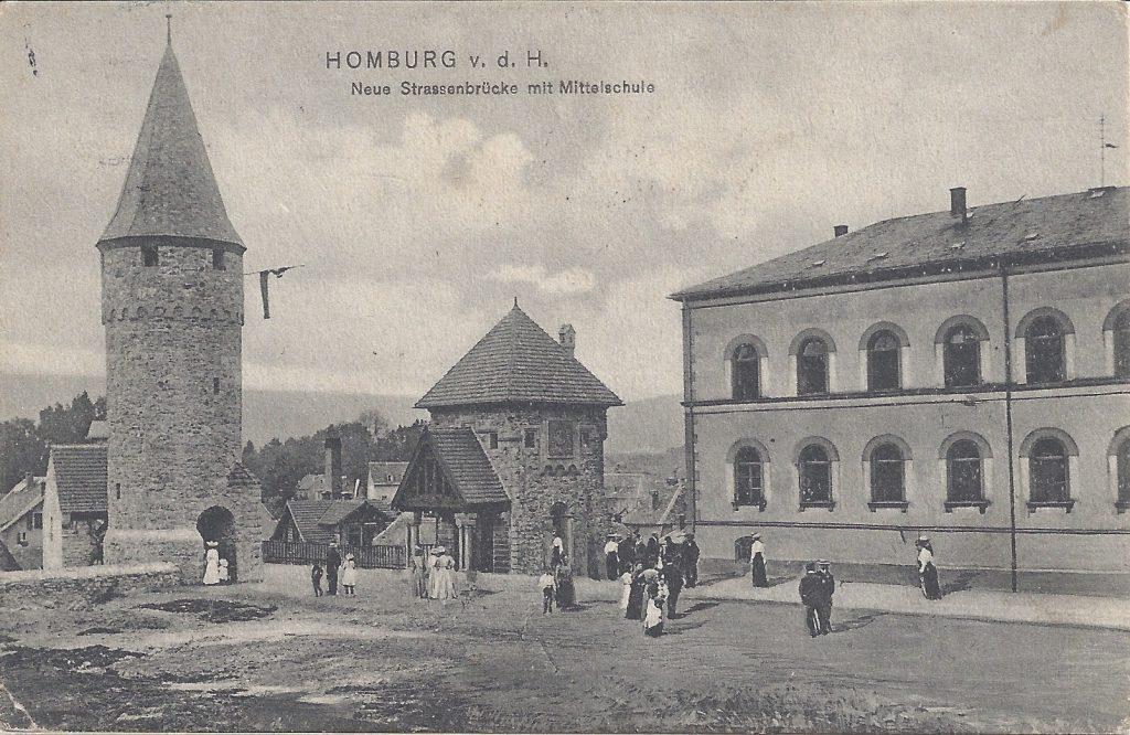 Ansichtskarte Ritter-von-Marx-Brücke mit Mittelschule