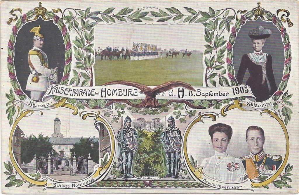 Ansichtskarte von der Kaiserparade in Bad Homburg 1905