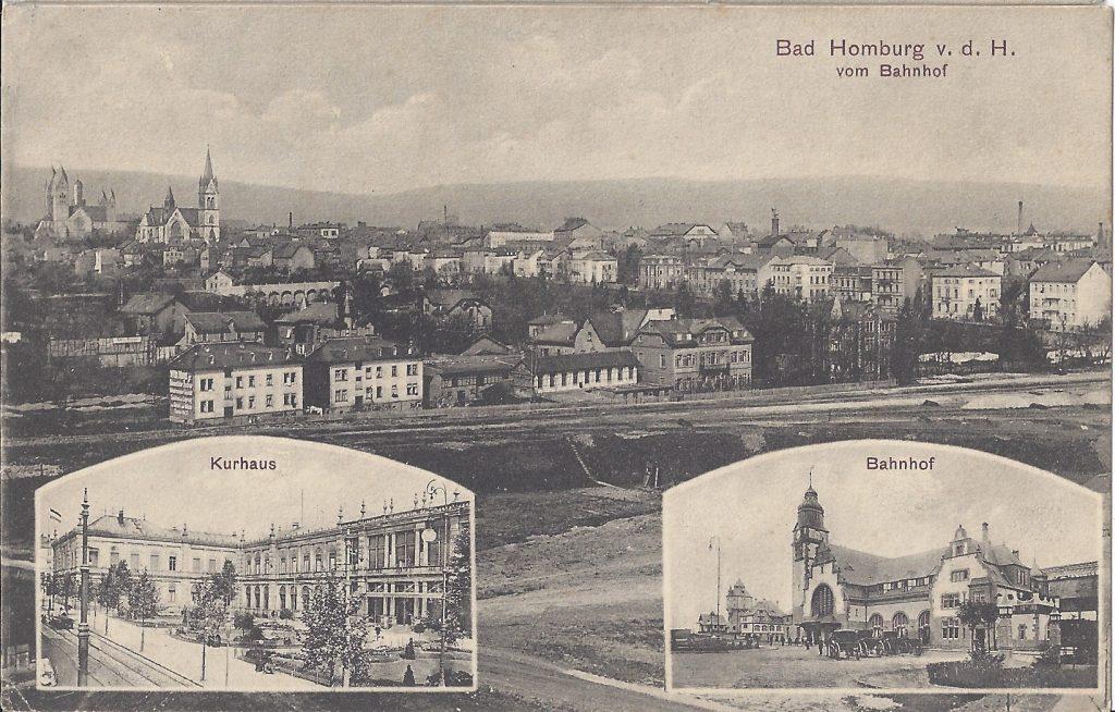 Ansichtskarte Blick vom Bahnhof zur Stadt