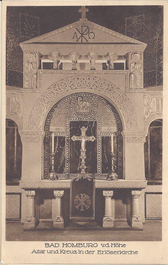 Ansichtskarte Erlöserkirche, Altar und Kreuz
