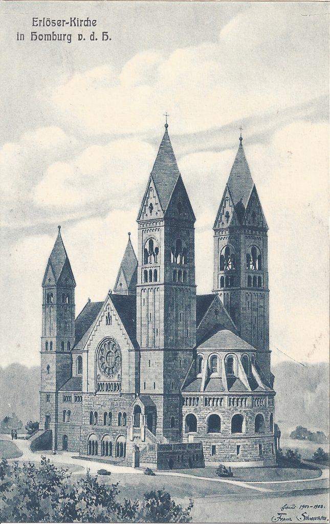 Ansichtskarte Zeichnung Erlöser-Kirche Bad Homburg