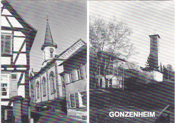Ansichtskarte mit den Kirchen von Bad Homburg - Gonzenheim