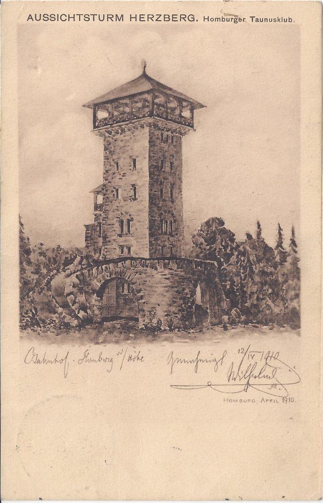 Ansichtskarte Zeichnung Herzberturm