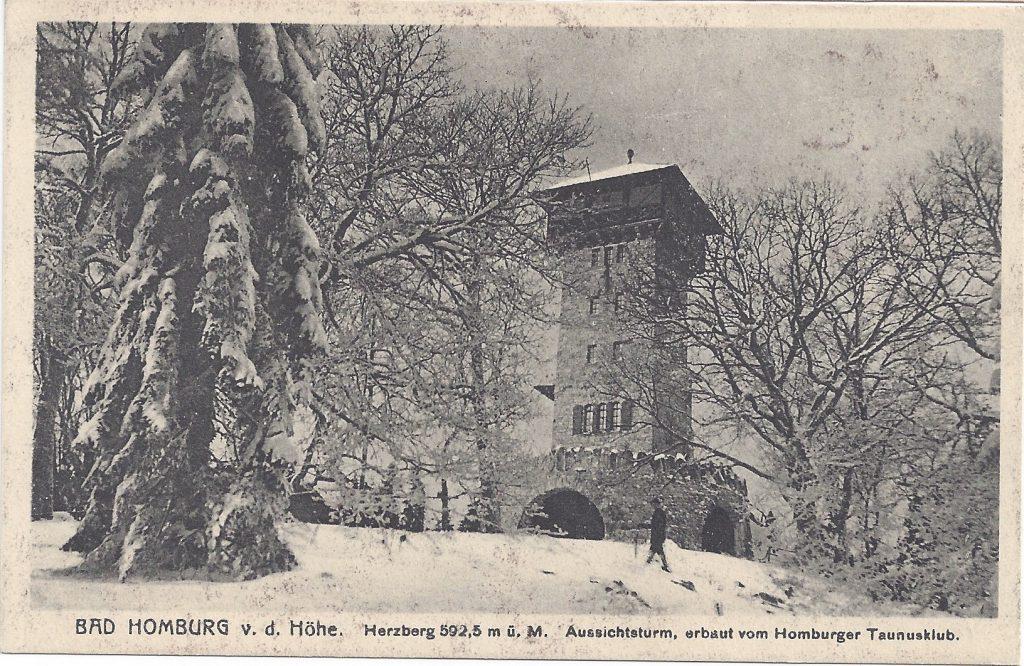 Ansichtskarte: Der Herzberturm im Winter