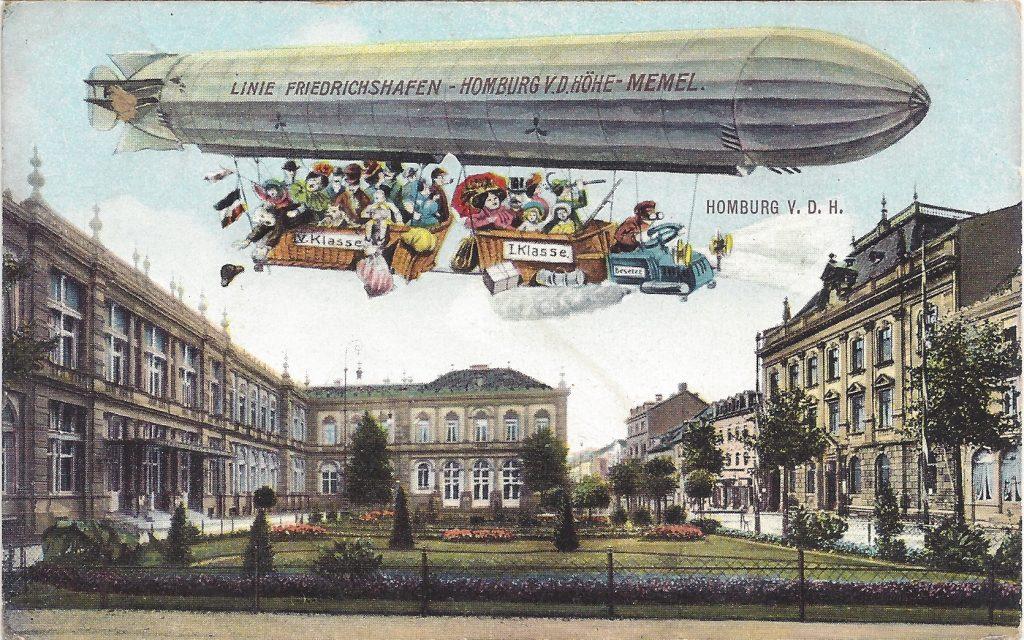 Ansichtskarte Luftschiff über dem Kurhaus