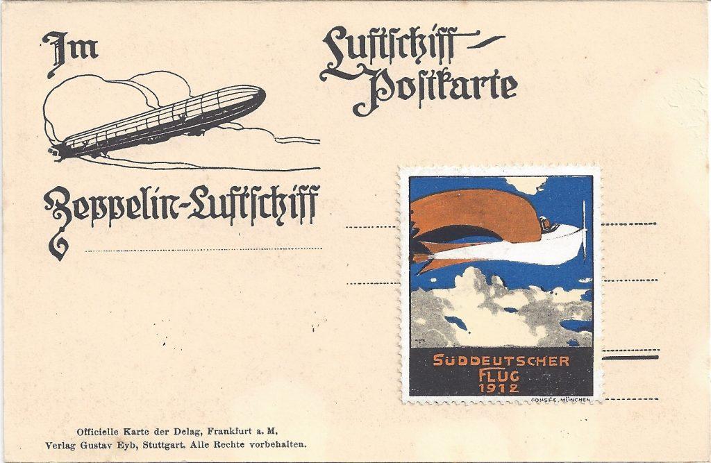 Ansichtkarte Rückseite Luftschiff-Post